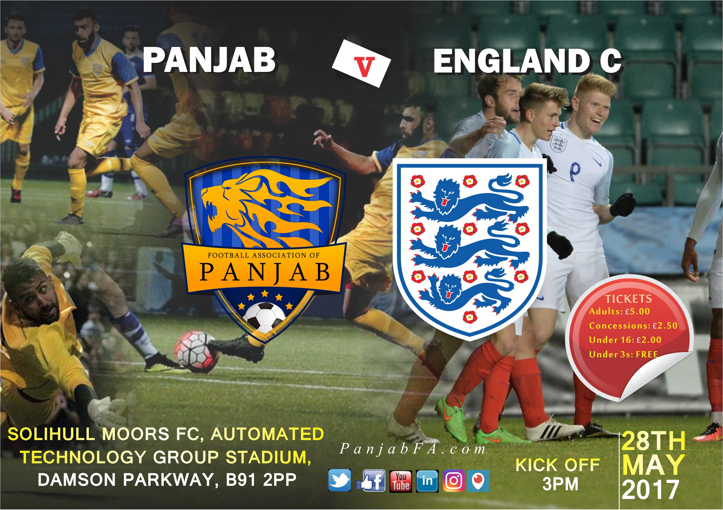Panjab vs England C venue changed to Solihull Moors FC