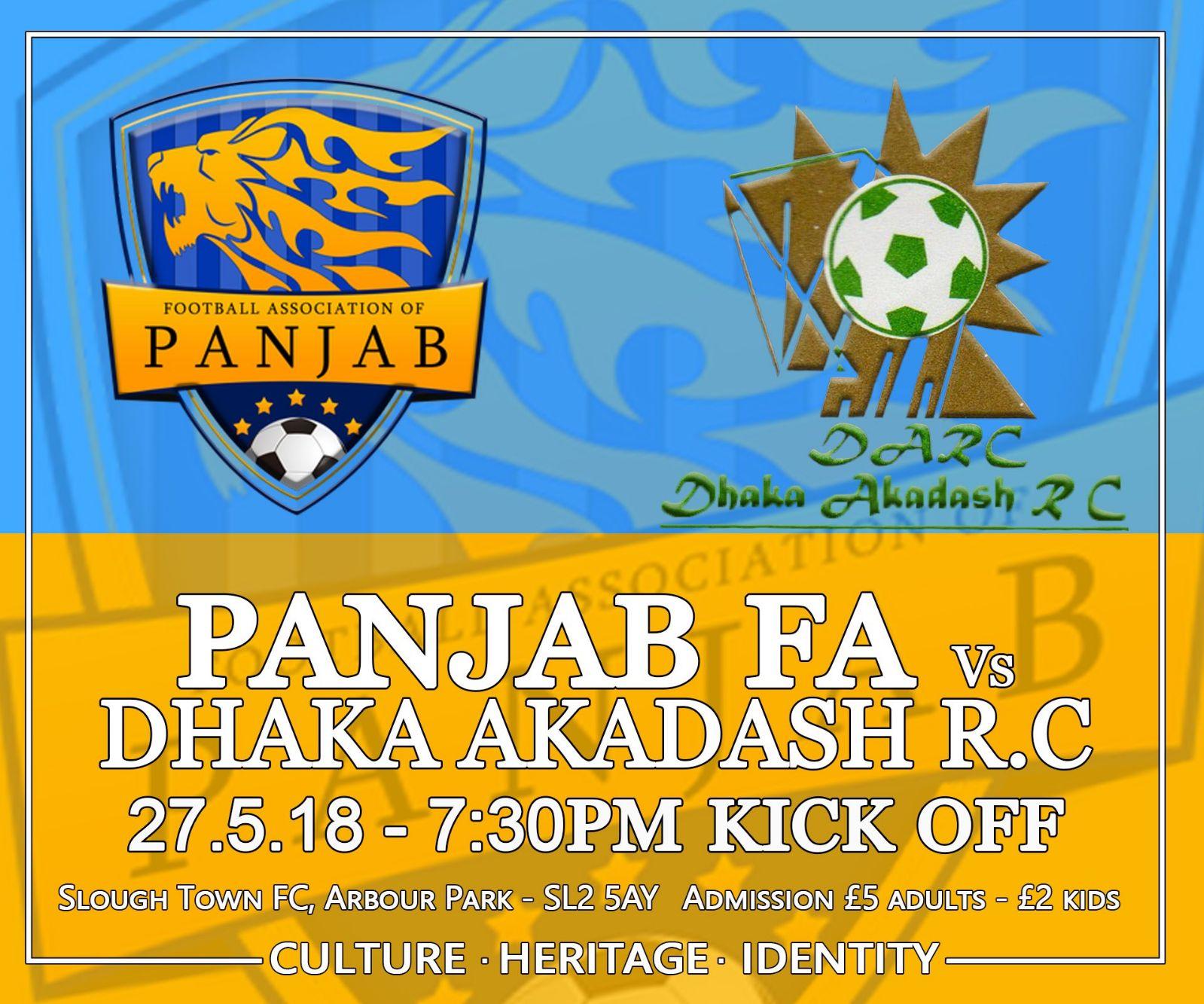 PANJAB VS DHAKA AKADASH R.C. OF BANGLADESH AT SLOUGH TOWN FC